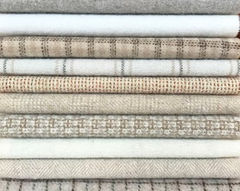 Felted Wool, 8in.x 8in. -  Light Colored Neutrals - for Applique, Penny Rugs, Sewing Projects - W547