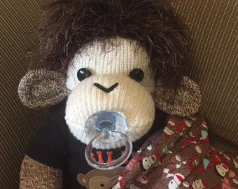 Baby Sock Monkey Adam.  Large Rockford Red Heel sock monkey.  Hand made by me.