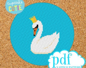 Swan cross stitch pattern. Needlepoint tapestry. Beginners epattern. Easy counted x-stitch. Pdf instant download. Craft for swan lover