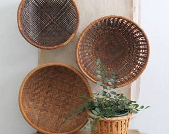 Vintage Set of Three Woven Wall Baskets, Small Wall Baskets