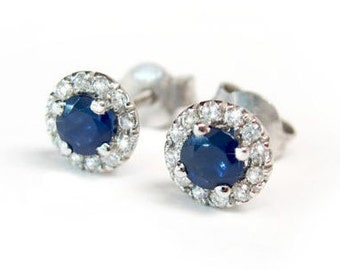 Halo earrings, Sapphire solid gold stud earrings, Sapphire diamond stud earrings, White gold diamond and sapphire earrings,