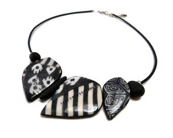 Black and White Leaf Necklace, artisan boho statement contemporary necklace, handmade from polymer clay, mother's day gift, original design
