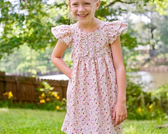 Farrah Flutter Double Sleeve | Summer Ruffles, Spring Floral, Whimsical, Vintage Classic | Baby, Toddler, Girl | Free Shipping