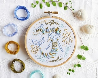 Mermaid Embroidery kit, Gift idea - Mermaid Dreams - Embroidery Hoop Art, Diy Kit, Tamar Nahir, Ocean Sea Decor