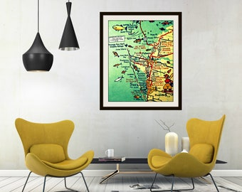 Anna Maria Key Map Art, Sarasota Florida Map Art, Siesta Key Map Wall Art Bradenton Beach Artwork Summer Outdoors Beach Wall Art Florida Map