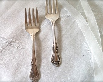 Wm Rogers Silverplate Baby Forks,set of two baby forks,vintage silver