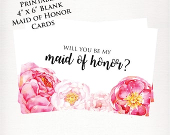 Printable Be My Maid of Honor Card
