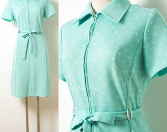 Mod Dress, Vintage Mint Green Dress, 60s Green Dress, Mad Men Dress, 60s Mod Dress,Vintage shirt dress,Geometric Dress,60s Knit Dress - L/XL