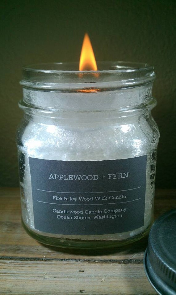 Applewood + Fern - New Fire & Ice Wood Wick Candle with Pewter Lid 9 oz - Free Shipping in the USA
