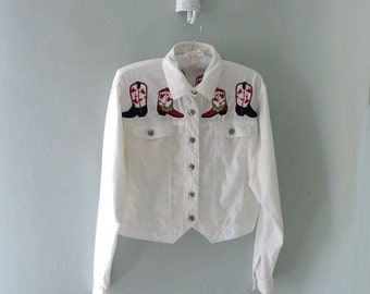 Cowgirl Shirt, Cowgirl Jacket, White Jacket, Embroidered Jacket, Cowboy Boots, Summer Jacket, Novelty Print Jacket, Embroidered Jacket