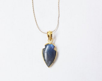 Arrowhead necklace, labradorite, blue green stone, flash, short, gold bezel