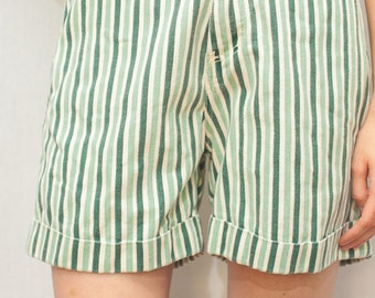 Vintage 90s Green & White Stripe Shorts by Bill Blass / Denim Shorts / High Waist Shorts / Made in USA / Size 8