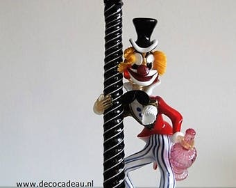 XXL... Vintage Murano Seguso glass clown lantern pole.