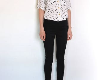 90's star print blouse, black and white short sleeve collared shirt, preppy, magic silky blouse