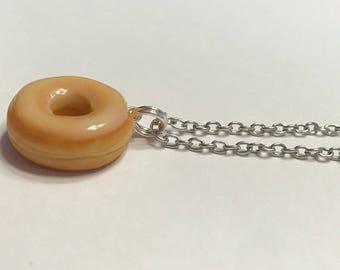 Glazed Doughnut Necklace, Polymer Clay Food Jewelry, Realistic Food