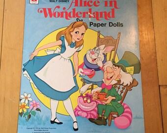 Vintage 1976 Whitman Disney Alice in Wonderland Paper Dolls Book!