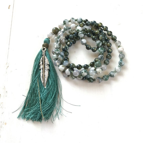 Mother Of Pearl Mala Beads, Tree Agate Mala Necklace, Green Stone Mala, Feather Mala, 108 Bead Mala, Yoga Meditation Beads, Boho Chic Mala