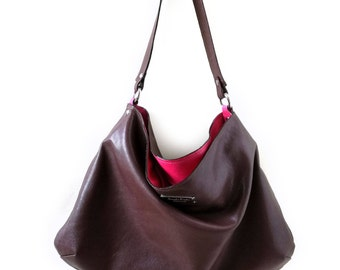 Soft Hobo Bag in Leather. Large leather purse in Brown and deep pink. Leather Hobo Bag. Brown CarryAll Bag. Large tote bag. Bags on sale