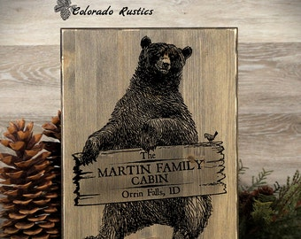 Bear cabin decor etsy for Rustic bear home decor