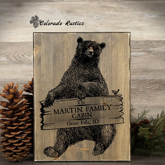 Personalized cabin sign cabin decor bear sign rustic frame for Rustic bear home decor