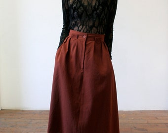 Chocolate Brown A line Skirt // Size 8-10