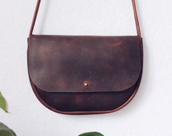 brown oiled leather crossbody bag, leather purse, leather bag,boho, leather tote