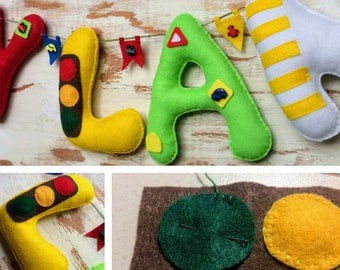 "Felt Name Banner,  ""DYLAN"", Transport Themed Nursery Bunting, Gift for Child, Vehicle Nursery, Nursery Decor, Personalized Felt Letters"
