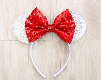 Red Minnie Ears, Silver Disneyland Ears, Minnie Mouse Ears, Silver Mickey Ears, Minnie Ears, Mickey Ears, Disney Ears, Disney World, Disney