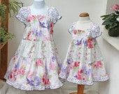 Ruffled Girls Easter Dress Girl Easter Outfit Girl Clothes Floral Bird Pink Purple Lilac Big Girl Dress Size 2T 3T 4T 5 6 7 8 10 12 14 Tween