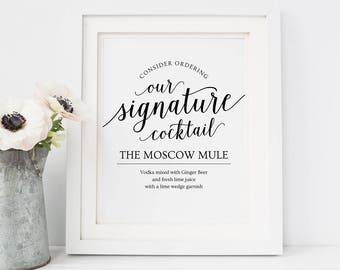 Signature Cocktail Sign Printable // Editable Drink Sign // Printable Wedding Bar Menu Sign // Wedding Cocktail Sign, Signature Drinks