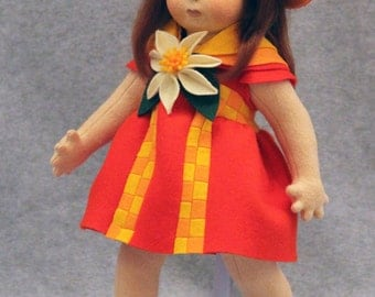 Hand Made Wool Felt Girl in Orange Checkerboard Dress and Hat with Flower