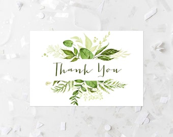 Green Foliage Thank You Card Printable Greenery Thank You Card Leafy Woodland Thank You Note Card Botanical Thank You Green Leaves 263
