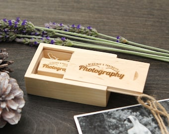 Engraved Maple Wood Box & USB Flash Drive Set- Personalized USB Thumb Drive - Custom Photography Wedding USB Drive