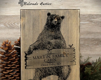 "Personalized Cabin Sign, Cabin Decor, Bear Sign, Rustic Sign, Rustic Home Decor, Family Cabin Sign, Housewarming Gift, 12"" x 16"""