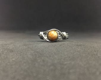 Autumn Jasper Wire Wrapped Ring