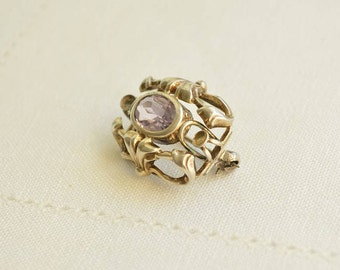 Antique AMETHYST Silver Brooch, Art Nouveau Jewelry