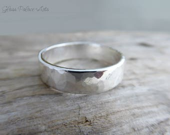 Men's Wedding Band, Thick Wedding Band, Men's Hammered Sterling Silver Ring For Him, Gift For Dad, Gift For Father, Simple Wedding Ring