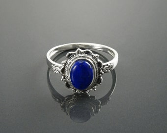NATURAL Lapis Ring, Sterling Silver, Boho Ring, Bleue Lapis Ring, Dainty Stone Ring, Midi Oval Ring, Pretty Jewelry, Victorian Antique Ring