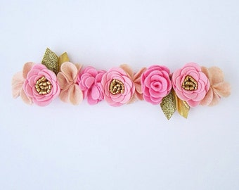 Pretty in Pink Felt Flower Crown / Felt Flower Headband