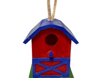"4"" Handpainted Red Blue Decorative Hanging Mini Barn Birdhouse Feeder"
