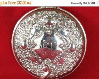ON SALE Vintage Silver Plated Pocket Mirror, Vanity Mirror