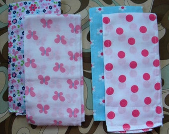 Set of 2 burp cloth set   NAME EMBROIDERED FREE