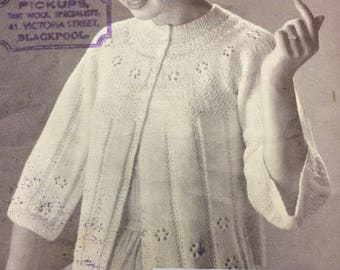 """Vintage knitting pattern 1950's P&B 476 two bed jackets 34-36-38"""" 5 ply sports weight"""