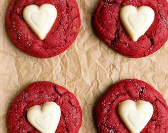Vegan red velvet sugar cookies. Just in time for your sweetheart!