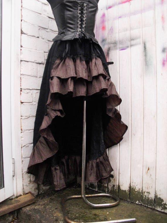 Black 100% cotton skirt Steampunk Skirt Bustle Gothic Saloon Skirt Black  Dark Brown Ruffle Skirt Overskirt Mini maxi by DressingerRoomCorner 9cd5acf42ae