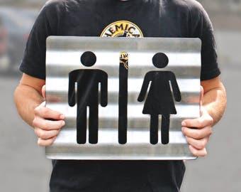 Unisex Bathroom Sign Corrugated Plasma Cut Steel Restroom Sign Rustic Metal  Sign Restaurant Home Shop Wall