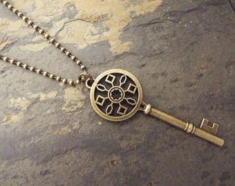 Brass Tone Key Necklace, Skeleton Key, Antiqued Key Pendant, Antiqued Brass Plated Necklace
