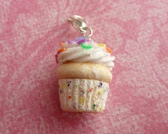 Cupcake Funfetti Cake Miniature Food Jewelry Cupcake Charm Gifts for Her Polymer Clay Cupcake
