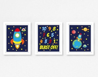 Outer Space Nursery Decor, Rocket Nursery Wall Art, Baby Boy Nursery Decor, Space Bedroom Wall Art, Space Baby Shower Gift, New Baby Boy
