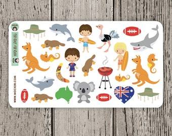 25 Australia Stickers / Planner Stickers / Australia Day Stickers
